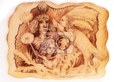 Detaillierte lineare Zeichnung Gruppe von Feen mit Löwenzahn Blume