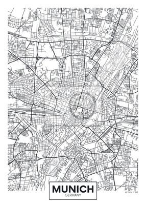 München Karte Schwarz Weiß.Bild Detaillierte Vektor Poster Stadtplan München