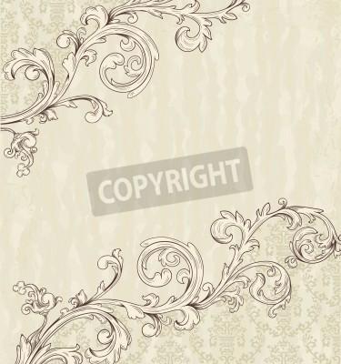 Bild Detaillierte Vintage-Karte mit Damasttapete auf beige Grunge-Hintergrund