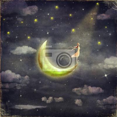 Die Abbildung zeigt das Mädchen, das den Sternenhimmel bewundert