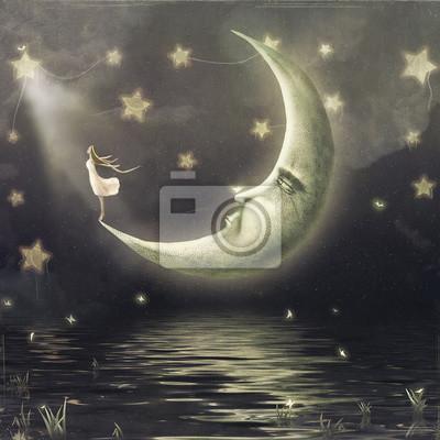 Die Abbildung zeigt das Mädchen, das Sterne im nächtlichen Himmel bewundert