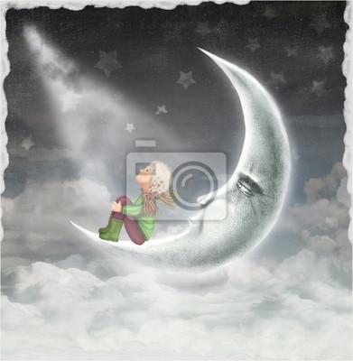 Die Abbildung zeigt den Jungen, der die Sterne am Himmel bewundert