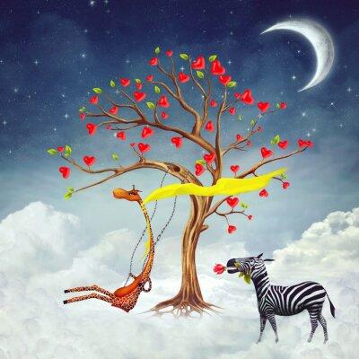 Die Abbildung zeigt romantische Beziehungen zwischen einer Giraffe und einem Zebra