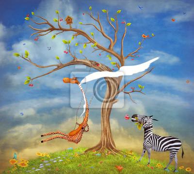 Die Abbildung zeigt romantische Beziehungen zwischen einer Giraffe und Zebra