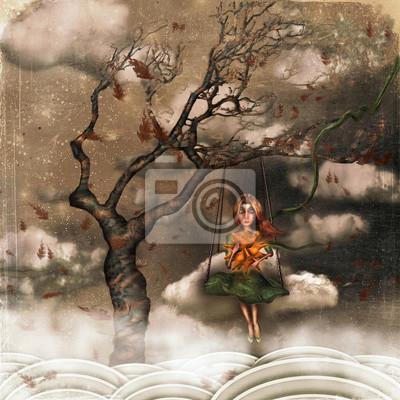 Die Abbildung zeigt trauriges Mädchen im Himmel auf swings.A Sonne in seinen Händen