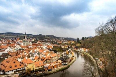 Bild Die Altstadt Ansicht von cesky Krumlov Schloss in bewölktem Tag