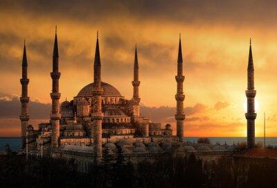 Bild Die Blaue Moschee in Istanbul bei Sonnenuntergang