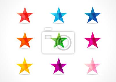 Bild Die bunte Vektor-Sterne. Die leuchtenden Stern-Ikonen in den Schatten von neun Farben.