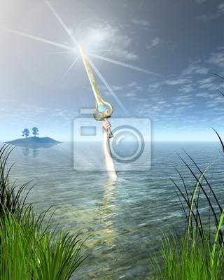 Die Dame vom See hält das Schwert Excalibur