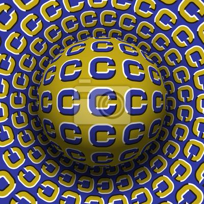 Die gemusterte Kugel der Buchstaben C, die auf drehende Oberfläche rollt. Abstrakte Abbildung der optischen Illusion des Vektors. Bewegungshintergrund.