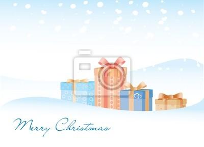 Die Geschenke auf dem Schnee Hintergrund mit Marry Christmas Zeichen