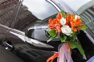 Die Hochzeit Auto Mit Blumen Geschmückt Leinwandbilder Bilder Nur