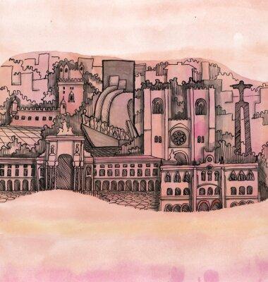 Bild Die panoramische Ansicht von Lissabon-Stadthand gezeichnet auf die Tapete getrennt auf dem Farbenhintergrund