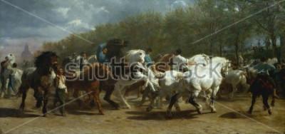 Bild DIE PFERDEMESSE von Rosa Bonheur, 1852-55, französische Malerei, Öl auf Leinwand. Der Pferdemarkt in Paris am Boulevard de lx90Hopital wurde über einen Zeitraum von 3 Jahren gemalt. Beim Skizzieren vo