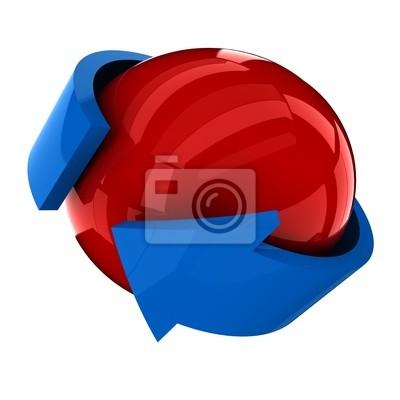 die rote Kugel mit dem blauen Pfeil