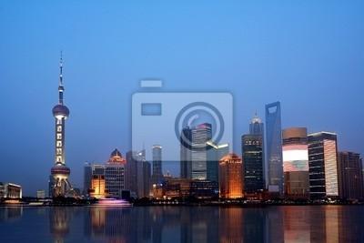 Die schöne Nacht Blick auf Shanghai, in China