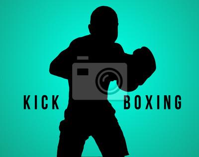 Die Silhouette der jungen Mann Kickboxen auf schwarz
