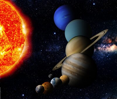 Bild Die Sonne und neun Planeten unseres Systems Umlauf