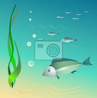 Die Unterwasser-Welt. Fische, Algen, Blasen.