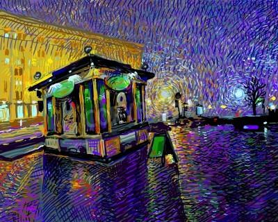 Bild digital art  painting of night Kyiv city, vector illustration