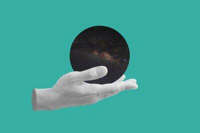 Bild Digital collage modern art. Hand holding circle space