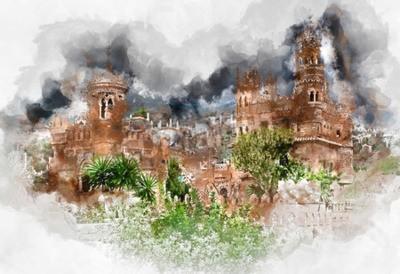 Bild Digitale Aquarellmalerei eines Schlosses von Colomares. Schloss gewidmet dem Forscher und Navigator Christoph Kolumbus. Stadt Benalmadena. Provinz Malaga Andalusien Spanien