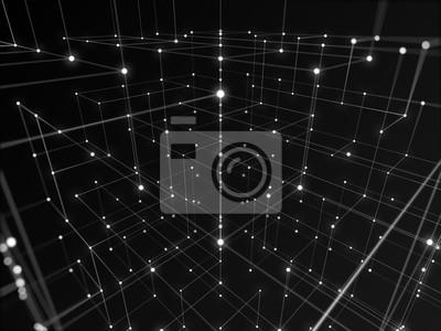 Bild Digitale High-Tech-Netzwerk mit Linie abstrakten Hintergrund, Schwarz-Weiß-Thema.