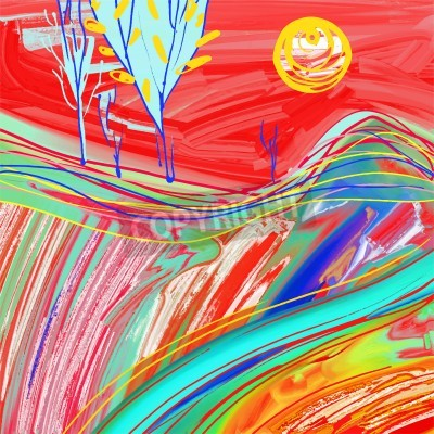 Bild Digitale Malerei der roten Sonnenunterganglandschaft, kreative Gestaltungsinspiration, moderner Impressionismus, vektorabbildung