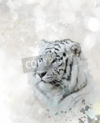 Bild Digitale Malerei Des Weißen Tiger-Kopfes