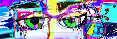 Bild digitales abstraktes Kunstplakat mit menschlichen Augen des Gekritzels