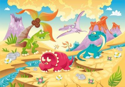 Dinosaurier-Familie . Funny Cartoon und Vektor-Zeichen