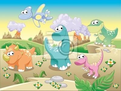Dinosaurier mit background.Cartoon und Vektor-Illustration.