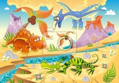 Dinosaurier mit prähistorischen Hintergrund. Vektor-Illustration