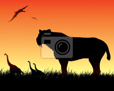 Dinosaurs Hintergrund mit smilodon Katze
