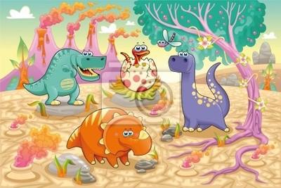 Dinosaurs in einer prähistorischen Landschaft. Vektor-Illustration