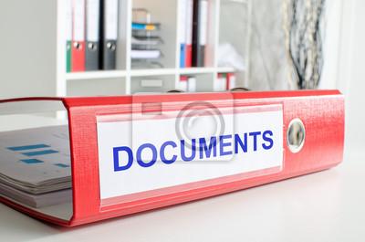 Bild Documents Wortlaut auf einem Bindemittel