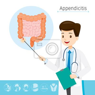 Doktor beschreibt über ursache zu appendizitis, anhang, interne ...
