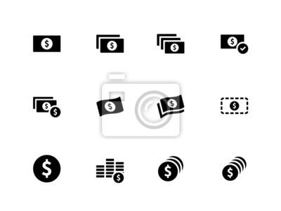 Dollar Banknote Symbole auf weißem Hintergrund.