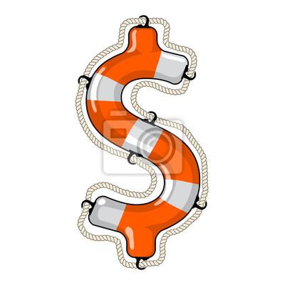 Dollar sign isolated lifebuoy