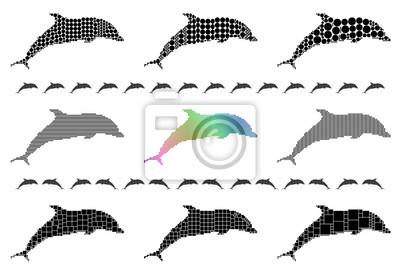 Dolphin silhouette mosaic set