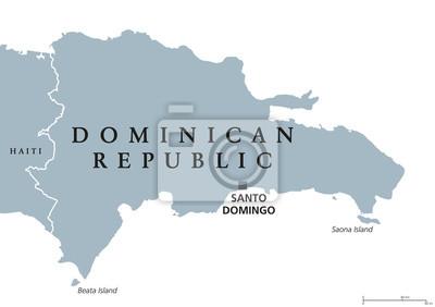 Dominikanische Republik Politische Karte Mit Hauptstadt Santo