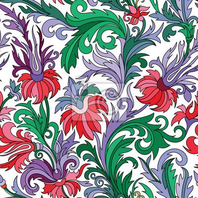 Doodle Bunte Pastell Floral Hand Zeichnen Nahtlose Muster