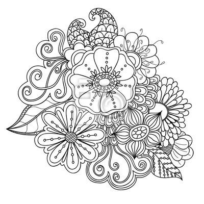 Doodle kunst blumen. zentangle blumenmuster. hand gezeichnet ...