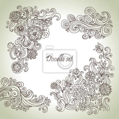 Doodle-Set. Hand gezeichnete abstrakte Blumenillustrationen