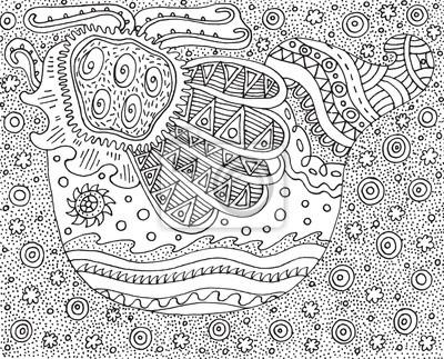 Doodle vogel. psychedelisch und surreal gestylt malvorlagen für ...