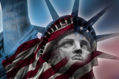 Bild Doppelbelichtung Bild der Freiheitsstatue und die amerikanische Flagge