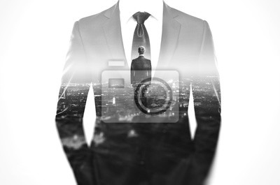 Bild Double exposure concept with business man in modern suit