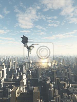Drache Attcking einen Future City