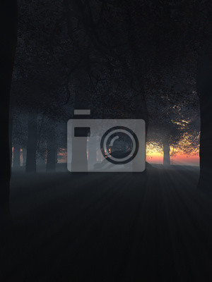 Drache in einer dunklen und Misty Sonnenuntergang Wald
