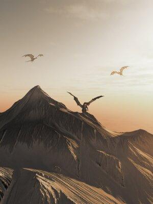 Bild Drache Spitze am Sonnenuntergang, Fantasieillustration